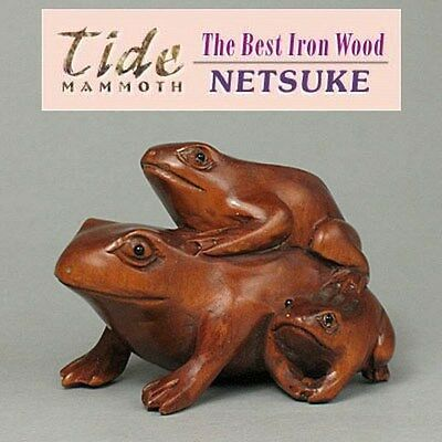 Boxwood Wood Netsuke THREE FROGS Figurine Carving  WN423