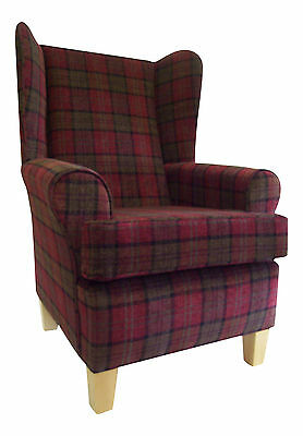 Wing Back/Fireside Chair in Burgundy Lana Tartan Fabric