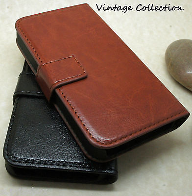 Premium Vintage Leather Flip Case Wallet Cover For New Sony Xperia Models
