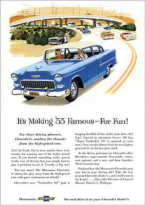 55 Chevrolet Retro A3 Poster Print From Classic Advert 1955