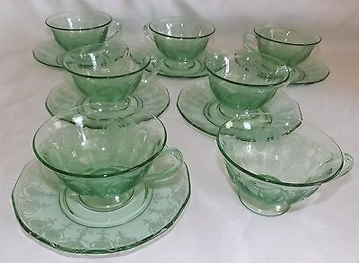Fostoria USA Elegant Glass Vernon Green 7 Footed Cups 6 Saucers