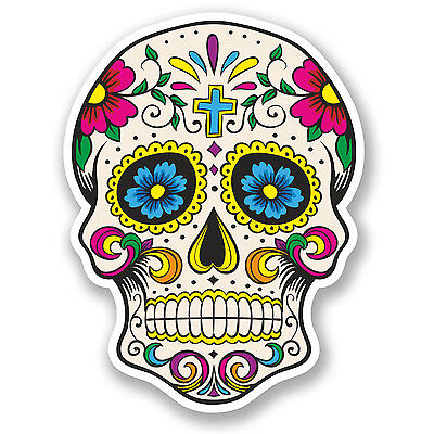 2 x Sugar Skull Vinyl Sticker Decal Mexican Spanish Day of the Dead Fun #5667/SV
