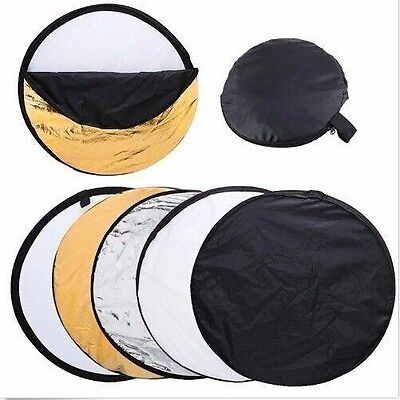32in 80cm 5 in 1 Camera Light Multi Collapsible Disc Reflector For Photograph US