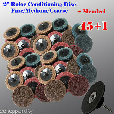 "45+1 2"" Roloc Surface Conditioning Sanding Disc Free Mandrel Fine M Coarse Disk"