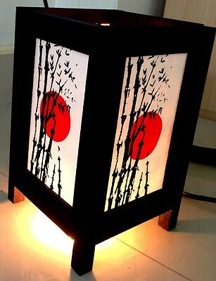 2 Pieces Two Asian Nightstand Table Decor Lamps Japanese Sunset Zen Lamps