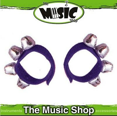 New Pair of Mano Percussion Wrist Bells on Poly Straps - Purple - ED379PU