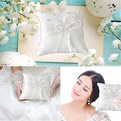 Hot Mini White Ring Pillow Cushion Wedding Party Crystal Rhinestone DoubleHeart