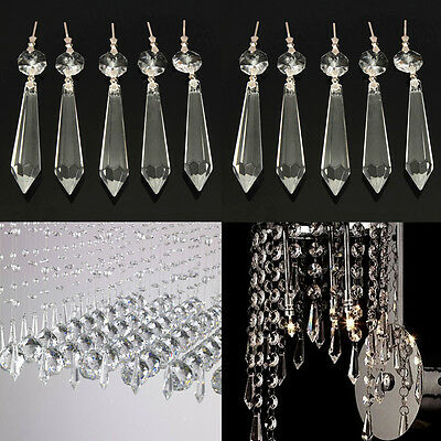 10X Chandelier Clear Crystal Glass Lamp Prism Hanging Drops Curtain Pendant 63mm