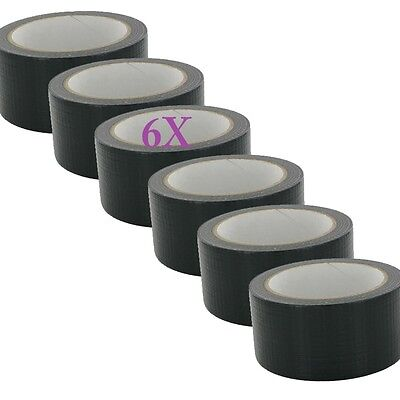 6X Duck strong Adhesive Duct Gaffa Gaffer Waterproof Cloth Tape Black 48mm x 50m
