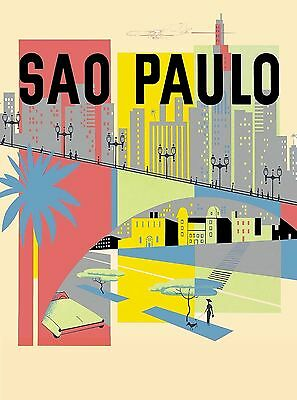 Sao Paulo Brazil South America American Vintage Travel Advertisement Poster