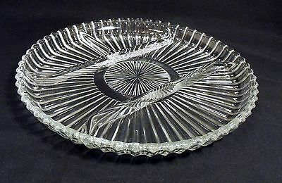 Indiana Glass Clear Starburst Pattern Round Divided Condiment Relish Tray