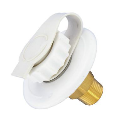 "White City Water Fill inlet flange Brass w/ check valve RV Camper MPT 1/2"" Male"