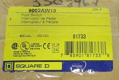 SQUARE D 9002 AW13 250 VDC 600 VAC HD Foot Switch 9002AW13