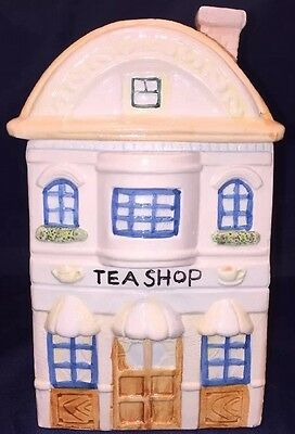 "2 Story Colorful Ceramic ""Tea Shop"" Cookie, Treat Or Biscuit Jar 9.5"" Tall"