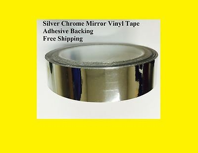 "Silver Chrome Mirror Vinyl Tape 12"" wide x10 Feet Adhesive Backing Free Shipp"