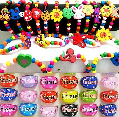 24pcs/lot Kids Party bag Children Wood Bracelets & FRIEND Rings Birthday Gift