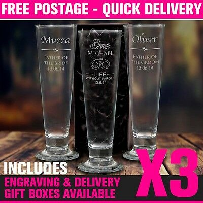 3x Engraved 425ml Pilsner Tall Beer Glass Boxed Personalised Wedding Favour Gift