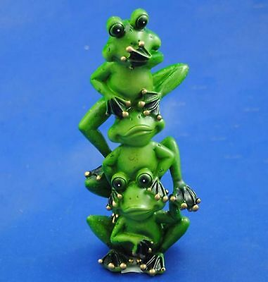 1 x Hear No Evi See No Speak No Evil Green Tree Frogs Totem Ornament Statue 7""