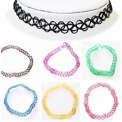 90s Tattoo Choker Necklace Stretch Black Rainbow Pink Blue Clear Brown Green Red
