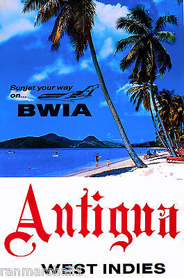 Antigua West Indies Caribbean Island Way Vintage Travel Art Poster Advertisement