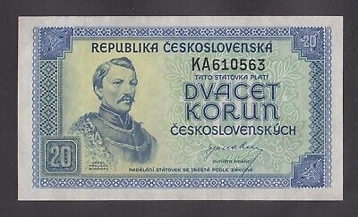 CZECHOSLOVAKIA   20 Korun 1945  VF   P61a NOT PERFORATED NOTE