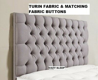 """Quality Modern 26"""" Colchester Turin Fabric & Matching Fabric Buttons Headboard"""