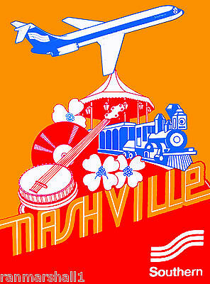 Nashville Tennessee by Air United States America Travel Advertisement Poster