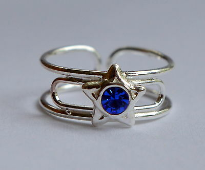 Sterling Silver (925) Adjustable Toe Ring Star With Blue Gem   !!     New !!