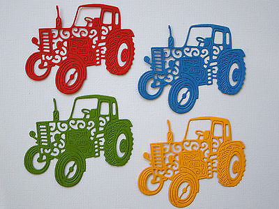 Vintage Tractor Paper Die Cuts x 8 Scrapbooking Card Topper Embellishment