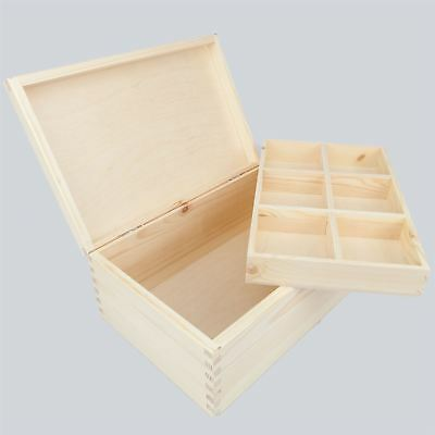 Unpainted Wooden Box with Inner Tray / Keepsake, Memory, Storage, Art Craft