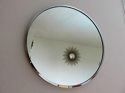 Grand Miroir Rond En Metal Chrome Annees 70 Vintage