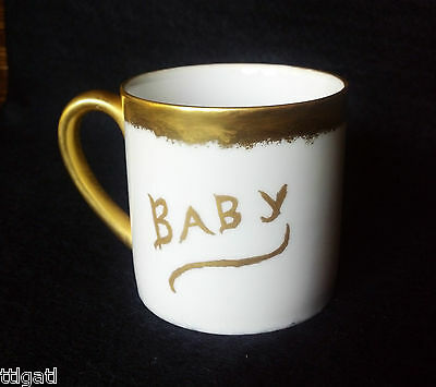 Antique Baby Cup Christening Mug 1919 Gilded Infant Gift Hand Painted Porcelain