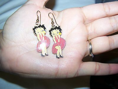 Betty Boop Super Cute! Decorative Marilyn Monroe Pose Red Dress Ear Rings Gold!