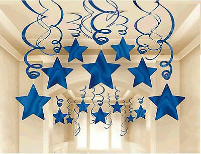 30 BLUE SHOOTING STARS SWIRL Decorations Graduation / Birthday Party Supplies