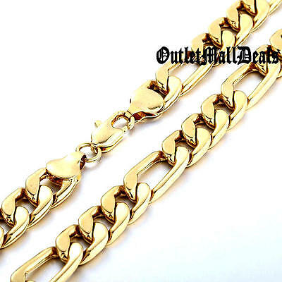 """Mens 14K Gold Plated Italian Figaro Link Chain Necklace 5mm 6mm 8mm 24"""" 30"""" 36"""""""