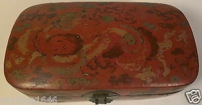 Antique Chinese Red Lacquer Painted Box Circa 19th Century