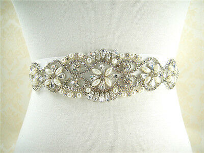 Stunning Pearl Crystal Bridal Belt Sash Wedding Accessories Any Colour Ribbon