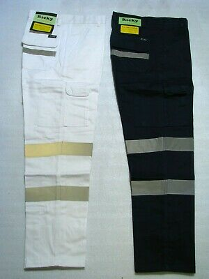 NEW Men's Cotton Drill Workwear Reflecticve Tape Cargo Pants,Trousers,Work Pants