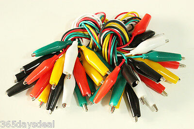 "20pcs 20"" Double-ended Crocodile Clip Alligator Test Jumper Probe Lead Wire"