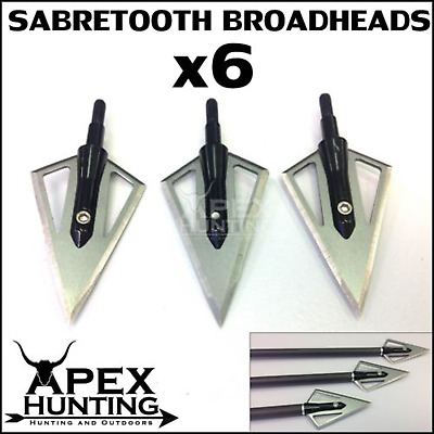 6X Sabretooth Broadheads 2 Blades Solid Steel Hunting Tips Compound Bow Archery