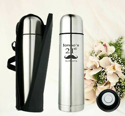 Custom Engraved Personalised Stainless Steel Vacuum Thermos Flask  Drinkware