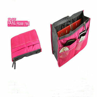 New Multi-function Double Zipper Portable Makeup Bag Finishing Cosmetic Rose Red