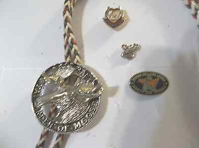 FATHER'S DAY-Loyal Order of Moose Lodge, Bolo-3 Lapel/pins-gold-silver tones-