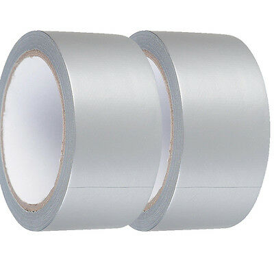 2 X STRONG SILVER Gaffa Gaffer Cloth Duck Duct  Tape 48mmx50m Weatherproof UK645
