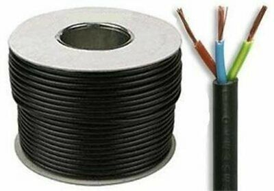 Black 1.5mm 3 Core 3183Y Round Flexible Cable - Lighting , Power , Heating