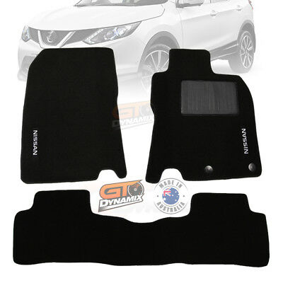Nissan QASHQAI CUSTOM MADE FLOOR MATS FRONT + REAR in Black 06/2014-ON J11