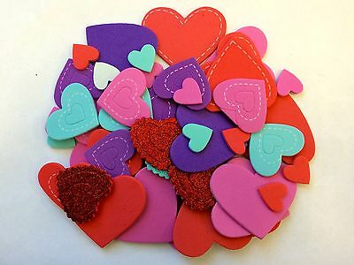 50 Valentine's Day Heart Love Self Adhesive Foam Shapes Stickers Teacher Supply