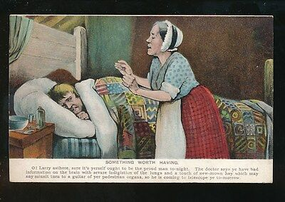Ireland Comic man and wife sick bed pre1919 PC
