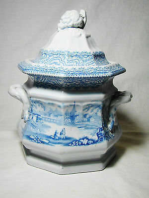 Staffordshire Ironstone Transfeware Blue Transfer Octagon Sugar Bowl 19th c.   7