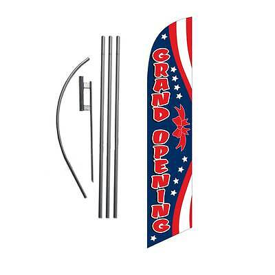 Grand Opening (red/w/blue) 15' Feather Banner Swooper Flag Kit with pole+spike